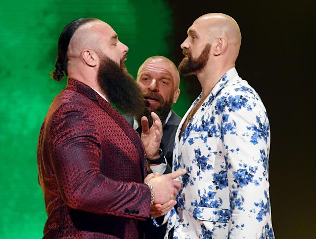 WWE wrestler Braun Strowman (L) and heavyweight boxer Tyson Fury (R) face off during the announcement of their match at a WWE news conference at T-Mobile Arena on Oct. 11, 2019 in Las Vegas, Nevada. (Ethan Miller/Getty Images)