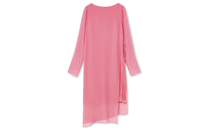 """Calling all minimal devotees, look no further for a simple way to tackle summer wedding guest attire. Pair with a lick of red lipstick for a punch of colour. <a href=""""https://www.hobbs.co.uk/product/display?productID=0219-5015-3793L00&productvarid=0219-5015-3793L00-PINK-12&refpage=occasionwear/wedding-outfits"""" rel=""""nofollow noopener"""" target=""""_blank"""" data-ylk=""""slk:Shop now"""" class=""""link rapid-noclick-resp""""><em>Shop now</em></a>."""