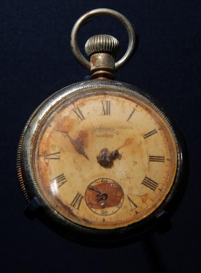 A pocket watch displaying the time ten minutes to two, which was recovered from the body of Titanic steward Sidney Sedunary, is displayed at the museum's Titanic exhibition on April 3, 2012 in Southampton, England. The new SeaCity Museum, which will open at 1.30pm on April 10, 100 years to the day since the Titanic set sail from the city. The museum, which cost 15 GBP million, promises to tell the largely untold story of Southampton's Titanic crew and the impact the tragedy had on the city, as well as featuring other aspects of the city's seafaring past.  (Photo by Matt Cardy/Getty Images)