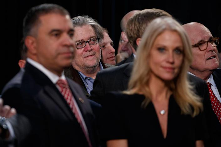<p>Stephen Bannon, center left, back, campaign CEO for Republican presidential candidate Donald Trump, looks on as Trump speaks during a campaign rally, Tuesday, Nov. 8, 2016, in Grand Rapids, Mich. (Photo: Evan Vucci/AP) </p>