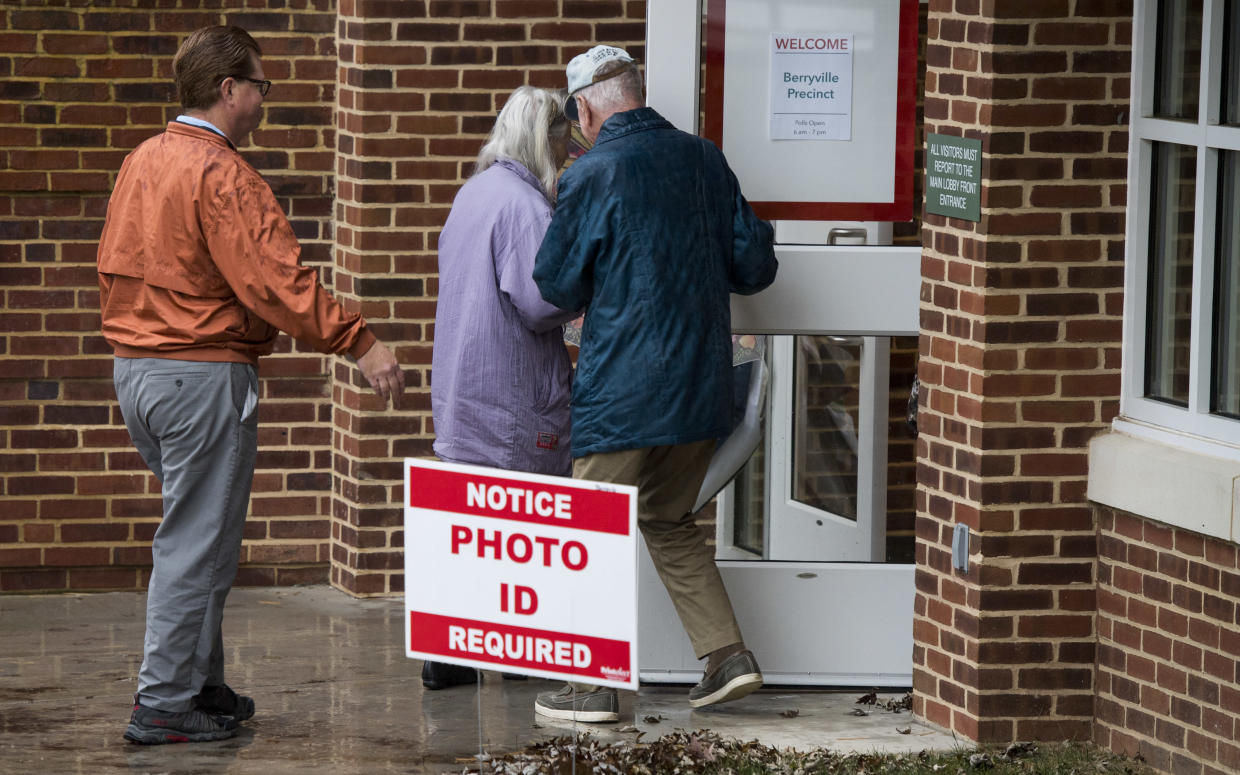 A sign notifies voters that a photo ID is required