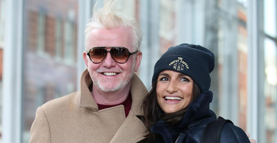Evans with his wife Natasha outside the Virgin Radio studios on Monday. (PA Images)