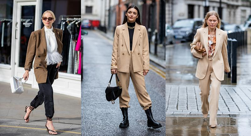 Blazers were worn glammed up and dressed down among guests at this year's London Fashion Week. (Getty images)