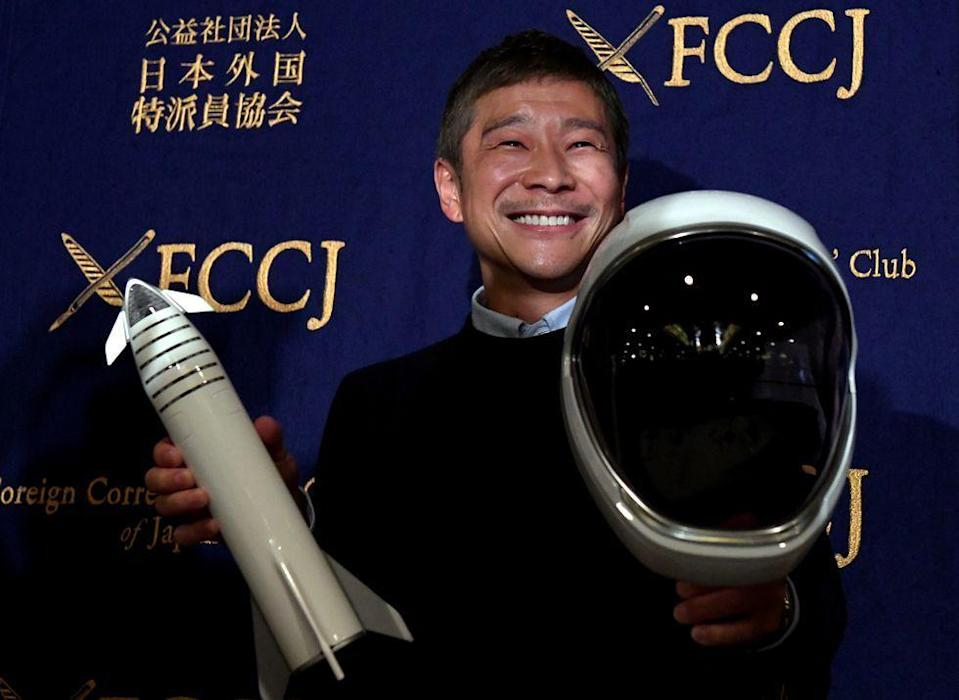 """<p>Japanese entrepreneur, designer, and art curator Yusaku Maezawa will be """"the company's first private passenger to fly around the Moon in 2023."""" </p><p>Recently, however, Maezawa revealed that he's """"<a href=""""https://www.bloomberg.com/news/articles/2019-05-07/billionaire-jokes-i-have-no-money-as-he-sells-art-lends-stock"""" rel=""""nofollow noopener"""" target=""""_blank"""" data-ylk=""""slk:broke"""" class=""""link rapid-noclick-resp"""">broke</a>,"""" so it remains to be seen whether or not he'll be able to stick to the plan and make the trip.</p>"""