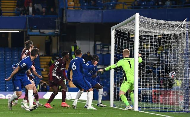 Antonio Rudiger, second right, scores Chelsea's first goal