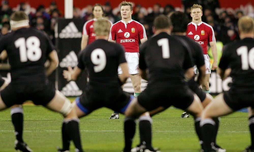 'We got slaughtered, didn't we?' The British and Irish Lions team watch the All Blacks perform the haka before the first Test of the 2005 series, which Clive Woodward's side lost 3-0.