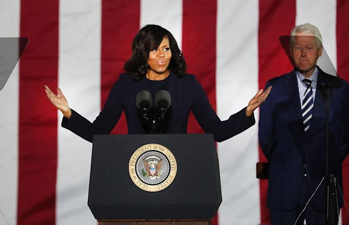 <p>Michelle Obama speaks during an election eve rally in Philadelphia for Democratic presidential nominee former Secretary of State Hillary Clinton on Nov. 7, 2016 in Philadelphia, Pa. (Photo: Spencer Platt/Getty Images) </p>