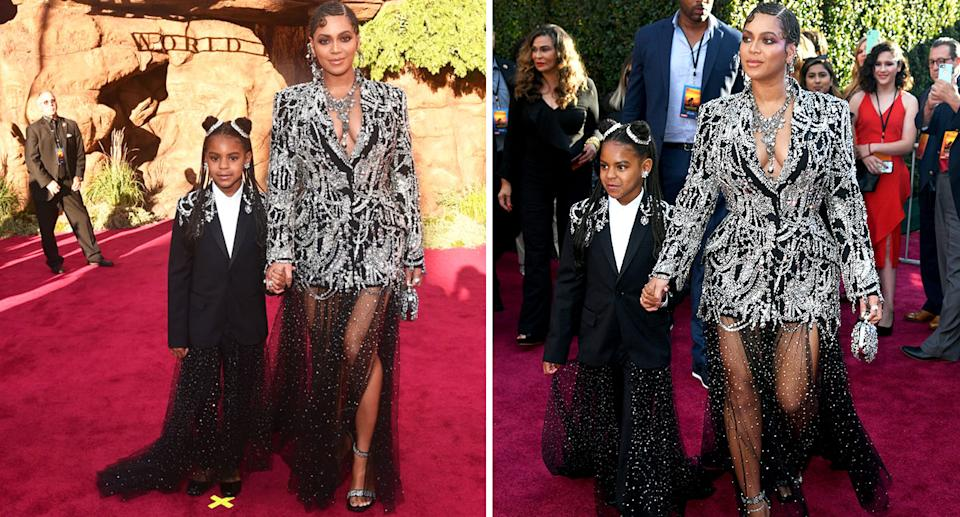 Beyonce matched her seven-year-old daughter Blue Ivy at the premiere of 'The Lion King'. [Photo: Getty]