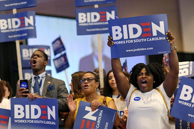 Supporters of Joe Biden cheer his speech at the South Carolina Democratic Convention, June 22, 2019. (Photo: Leah Millis/Reuters)