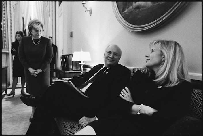 Lynne Cheney (L), Vice President Dick Cheney and daughter Elizabeth 'Liz' sit in the Vice President office in the U.S. Capitol prior to President George W. Bush's State of the Union address January 29, 2002 in Washington, D.C. (Photo by David Hume Kennerly/Getty Images)