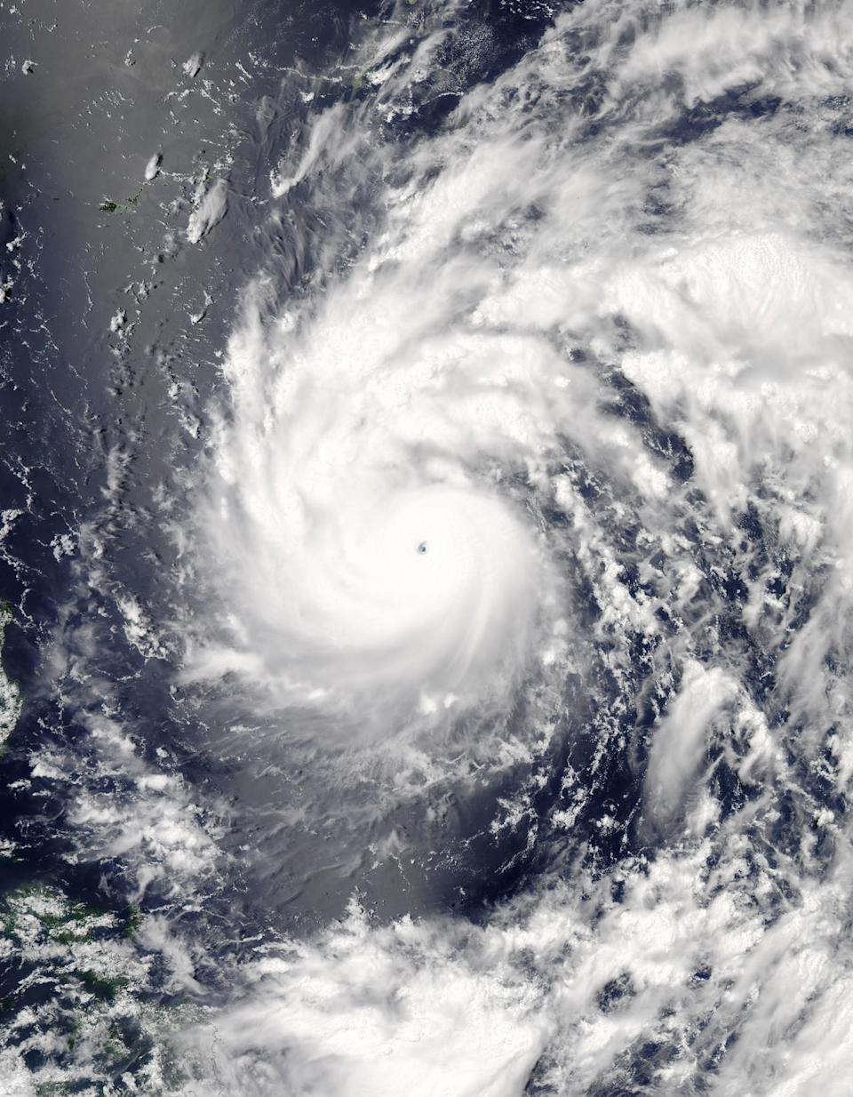 <p>This July 6, 2016, image provided by NASA shows Typhoon Nepartak as it approaches Taiwan and the Philippines. (Jeff Schmaltz/NASA/LANCE/EOSDIS Rapid Response via AP) </p>