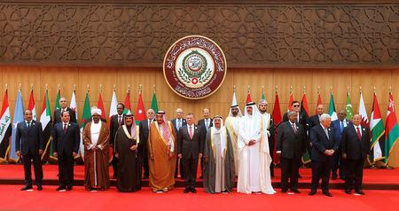 Arab leaders and head of delegations pose for a group photograph during the 28th Ordinary Summit of the Arab League at the Dead Sea