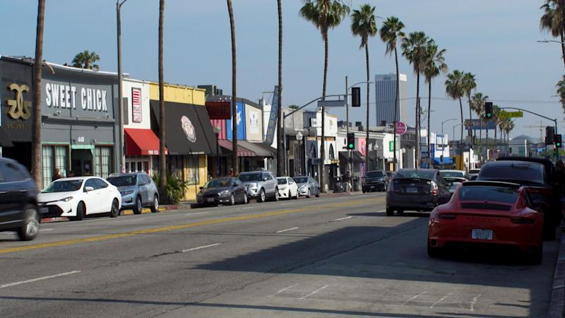 A view of Fairfax Avenue in Los Angeles, California, outside Catwalk.