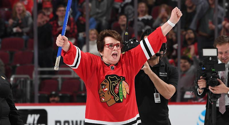 Billie Jean King reacts after making her shot during shoot the puck in between periods of the game between the Chicago Blackhawks and the Columbus Blue Jackets at the United Center on Friday night. (Photo by Bill Smith/NHLI via Getty Images)