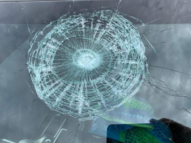 Kathy Carver was on her way to Cavendish Beach when a golf ball hit her car windshield. (Submitted by Kathy Carver - image credit)