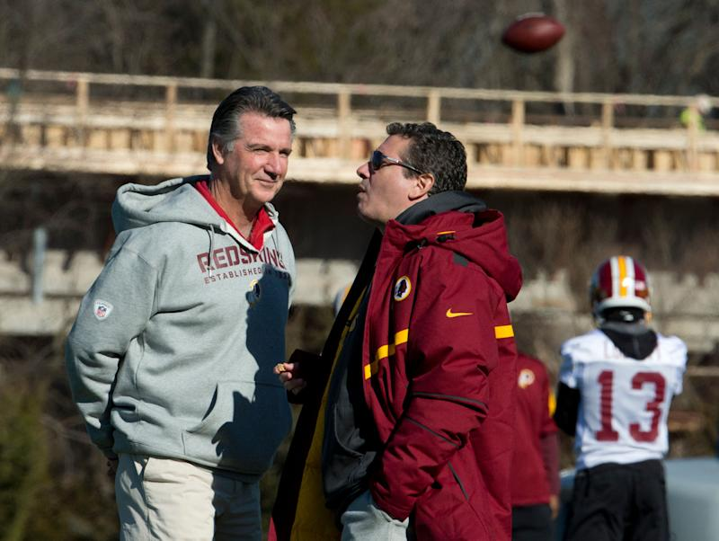 It's been a while since Washington Redskins owner Daniel Snyder and team president Bruce Allen, left, have made a whopper of an offseason move. (AP Photo)