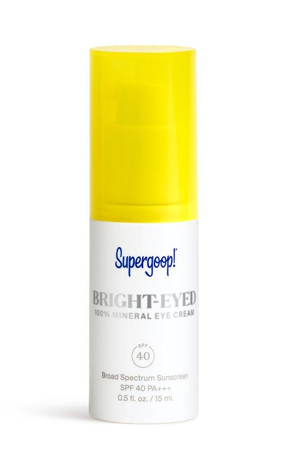 """<p>This new, daily-wear eye cream offers SPF, blue light protection, and brightening power for the delicate under-eye area. Apply every day for eyes that look less tired and puffy after just one step.</p> <p><strong>To buy: </strong>$36; <a href=""""https://supergoop.com/products/bright-eyed-100-mineral-eye-cream-spf-40"""" target=""""_blank"""">supergoop.com.</a></p>"""