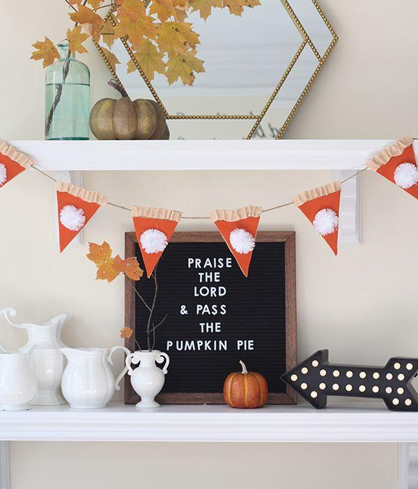 """<p>Around Thanksgiving, there's no such thing as too much pumpkin pie. Although you love it as a dessert, we think you'll love it as décor (like this adorable garland!) even more.</p><p><strong>Get the tutorial at <a href=""""https://lessthanperfectlifeofbliss.com/2016/11/pumpkin-pie-thanksgiving-garland.html"""" rel=""""nofollow noopener"""" target=""""_blank"""" data-ylk=""""slk:Less Than Perfect Life of Bliss"""" class=""""link rapid-noclick-resp"""">Less Than Perfect Life of Bliss</a>.</strong></p><p><strong><a class=""""link rapid-noclick-resp"""" href=""""https://www.amazon.com/Acrylic-Felt-Sheet-12-Orange/dp/B004ZXXJBK/?tag=syn-yahoo-20&ascsubtag=%5Bartid%7C10050.g.2063%5Bsrc%7Cyahoo-us"""" rel=""""nofollow noopener"""" target=""""_blank"""" data-ylk=""""slk:SHOP FELT"""">SHOP FELT</a><br></strong></p>"""