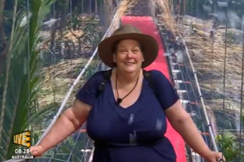Happy: Anne Hegerty leaving the jungle: ITV