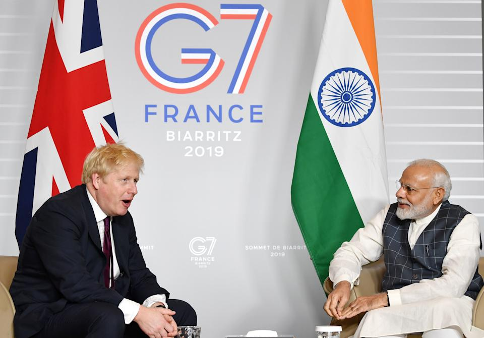 File photo dated 25/08/19 of Prime Minister Boris Johnson meeting India PM Narendra Modi for bilateral talks during the G7 summit in Biarritz, France. Boris Johnson has cancelled his visit to Delhi next week, as the coronavirus crisis worsens in India and concerns grow over a new variant there. Issue date: Monday April 19, 2021.