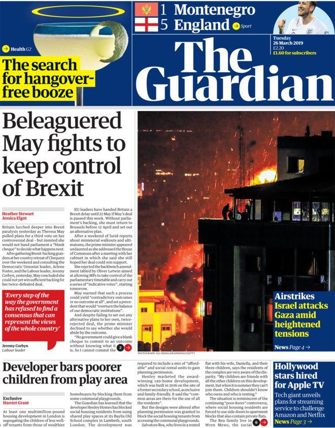 <p>The Guardian says Theresa May is battling for control of Brexit. </p>