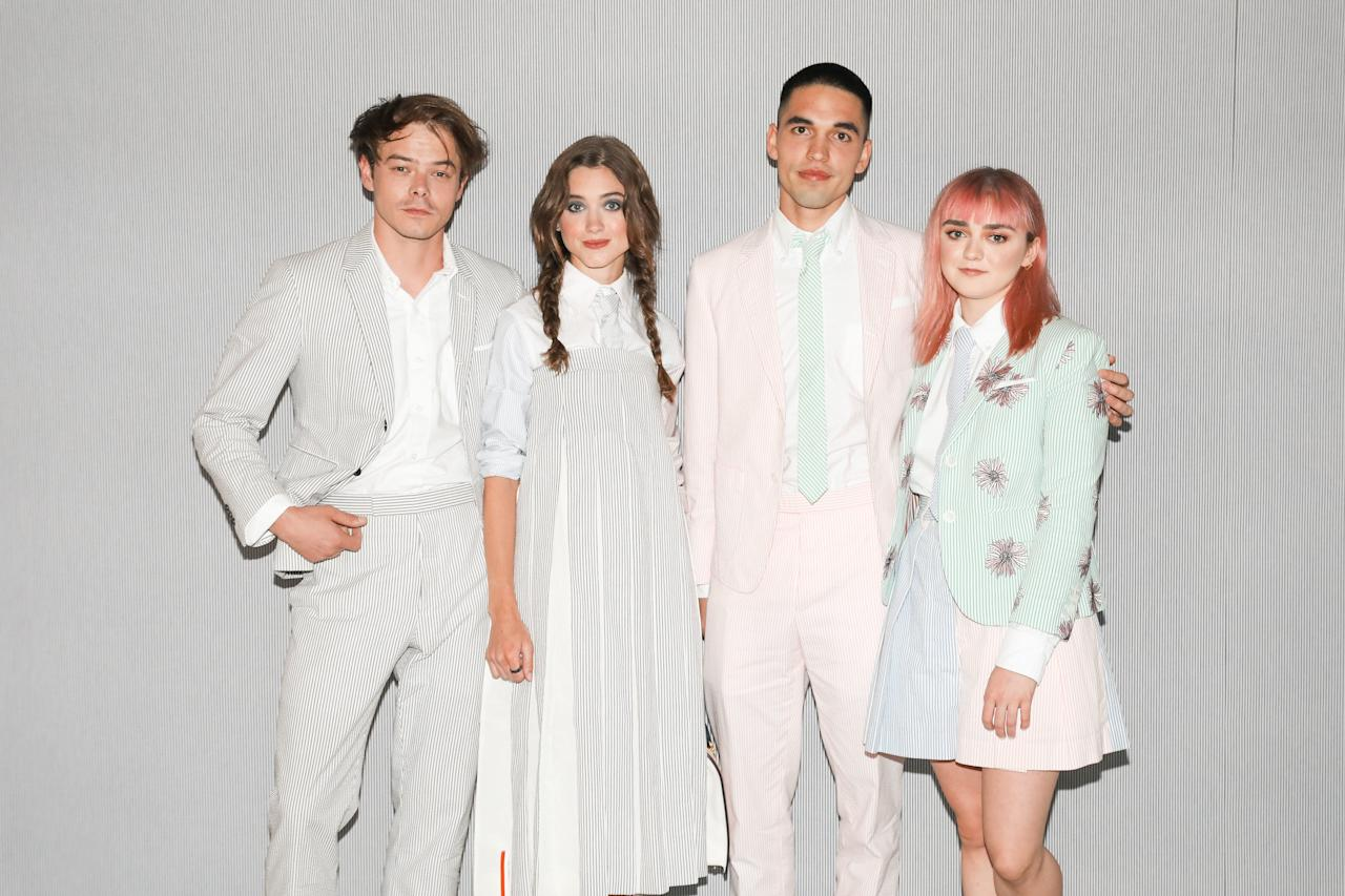 Charlie Heaton, Natalia Dyer, Rueben Selby, and Maisie Williams attend the thom browne x neuehouse dinner at Neuehouse in New York City.