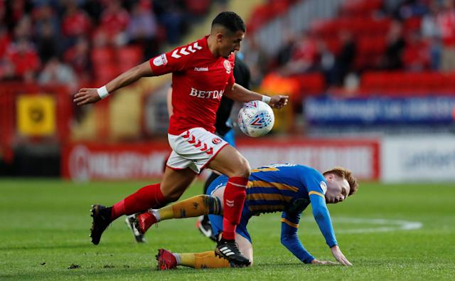 "Soccer Football - League One Play Off Semi Final First Leg - Charlton Athletic vs Shrewsbury Town - The Valley, London, Britain - May 10, 2018 Charlton Athletic's Ahmed Kashi in action with Shrewsbury Town's Jon Nolan Action Images/Peter Cziborra EDITORIAL USE ONLY. No use with unauthorized audio, video, data, fixture lists, club/league logos or ""live"" services. Online in-match use limited to 75 images, no video emulation. No use in betting, games or single club/league/player publications. Please contact your account representative for further details."