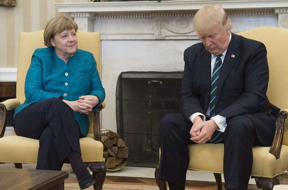 US President Donald Trump and German Chancellor Angela Merkel meet in the Oval Office of the White House in Washington, DC, on March 17, 2017.