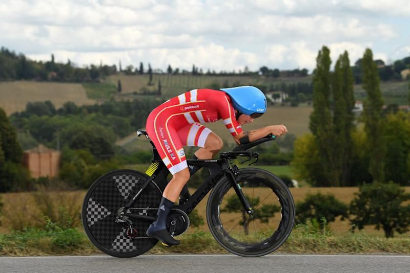 IMOLA ITALY SEPTEMBER 24 Emma Norsgaard Jorgensen of Denmark during the 93rd UCI Road World Championships 2020 Women Elite Individual Time Trial a 317km stage from Imola to Imola ITT ImolaEr2020 Imola2020 on September 24 2020 in Imola Italy Photo by Tim de WaeleGetty Images