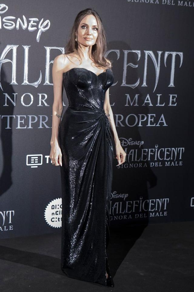 <p>The actress wore custom Atelier Versace at the premiere for Maleficent: Mistress of Evil in Rome.</p>