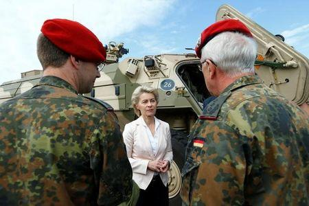 German Defence Minister von der Leyen speaks with soldiers sduring her visit of the Bundeswehr ABC defence battalion 750 in Bruchsal