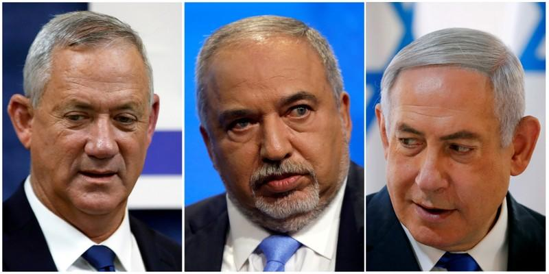 FILE PHOTO: A combination picture shows Blue and White party leader Benny Gantz, Yisrael Beitenu party leader Avigdor Lieberman and Israeli Prime Minister Benjamin Netanyahu