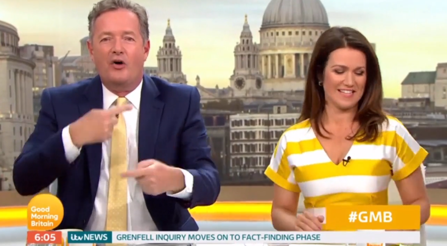 Piers goads the BBC with the new billboard placement. (ITV)