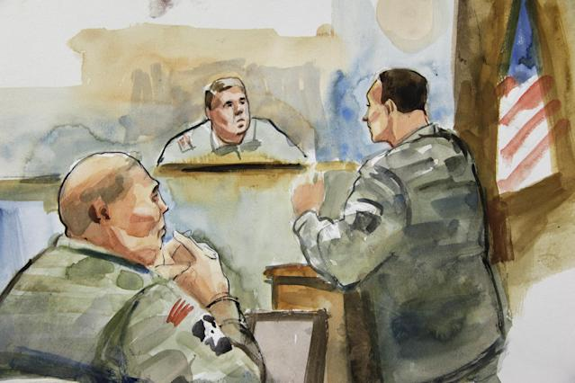 In this detail from a courtroom sketch, U.S. Army Staff Sgt. Robert Bales, left, listens to military prosecutor Maj. Rob Stelle, right, make his closing statements to Investigating Officer Col. Lee Deneke, second from upper right, Tuesday, Nov. 13, 2012 on the final day of a preliminary hearing for Bales at Joint Base Lewis McChord in Washington state. Bales is accused of 16 counts of premeditated murder and six counts of attempted murder for a pre-dawn attack on two villages in Kandahar Province in Afghanistan in March, 2012. (AP Photo/Lois Silver) TV OUT