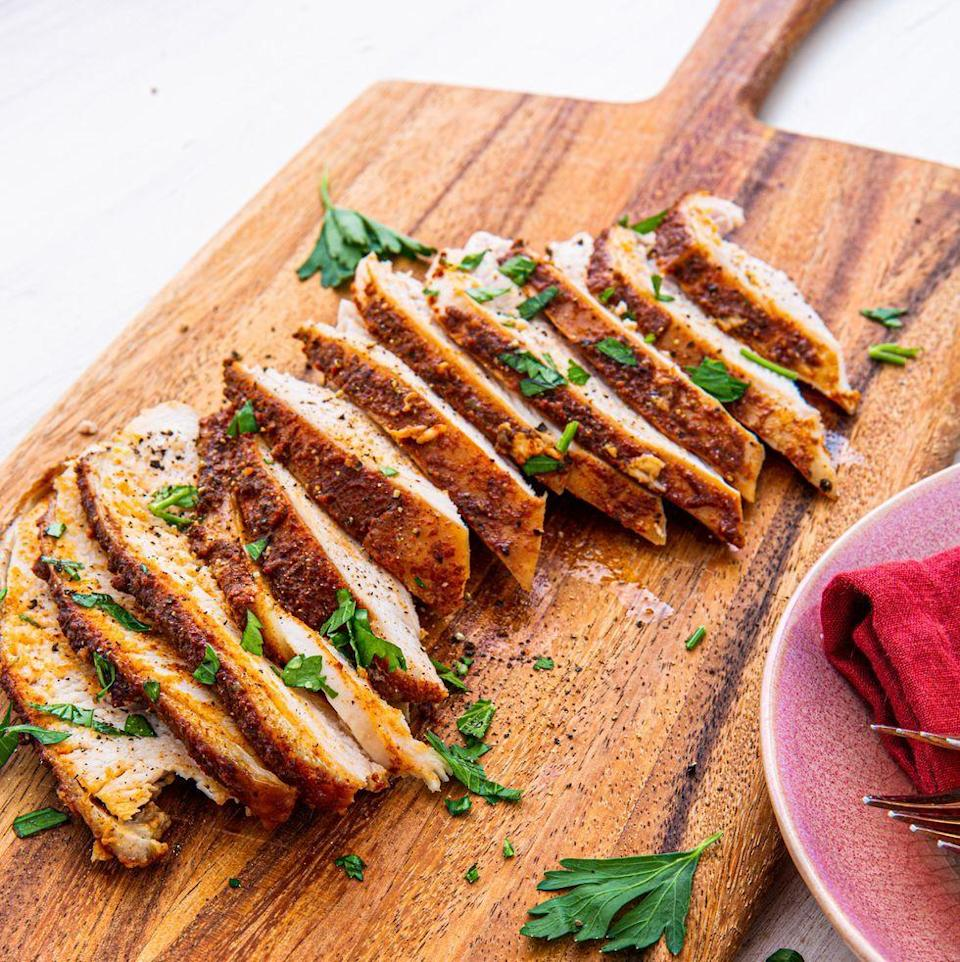 """<p>Who says you have to turn on your oven to make delicious turkey? After trying this easy recipe, not us. All you need to do is mix up a simple brown sugar rub, coat the meat, and let your slow cooker do the rest! </p><p>Get the <a href=""""https://www.delish.com/uk/cooking/recipes/a34367330/crockpot-turkey-breast-recipe/"""" rel=""""nofollow noopener"""" target=""""_blank"""" data-ylk=""""slk:Slow Cooker Turkey Breast"""" class=""""link rapid-noclick-resp"""">Slow Cooker Turkey Breast</a> recipe.</p>"""