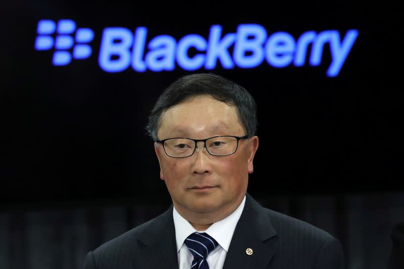 Blackberry CEO Chen takes part in an event at the BlackBerry QNX headquarters in Ottawa