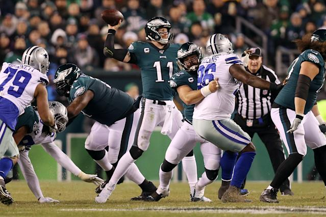 Carson Wentz and the Philadelphia Eagles knocked off the Cowboys in a de facto NFC East title game. (Patrick Smith/Getty Images)