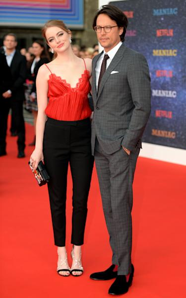 Cary Fukunaga and Emma Stone attended the Maniac world premiere at the Southbank Centre, London (Victoria Jones/PA)