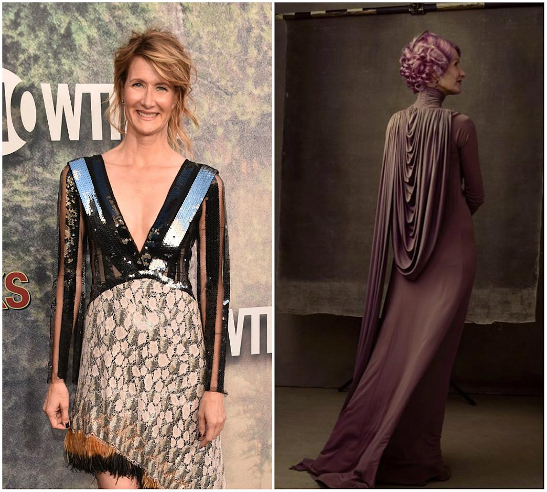 "<p><b>When: Tweeted May 24, 2017</b> <br /> ""Star Wars"" fans finally got a sneak peak as to how Laura Dern's hair will appear for ""Star Wars: The Last Jedi."" <i>Vanity Fair</i> writer Joanna Robinson shared a behind-the-scenes pic of the magazine's ""Star Wars"" cover shoot, showing Dern with short, chin-length curly, purple-hued hair. Dern, 50, will be playing the role of Vice Admiral Holdo, an officer in the resistance. Are you loving the purple or do you prefer Dern's natural blonde highlights? <i> (Photos: Getty (L)/Vanity Fair (via Twitter) (R) </i></p>"