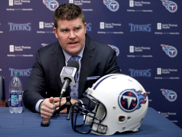 FILE - In this Jan., 22, 2018, file photo, Tennessee Titans general manager Jon Robinson speaks at a news conference in Nashville, Tenn. The Titans are coming off their first playoff victory in 14 years with a brand new coach and no obvious holes to be filled in the NFL draft. That gives general manager Jon Robinson lots of flexibility on what to do with the 25th pick overall Thursday night. (AP Photo/Mark Humphrey, File)