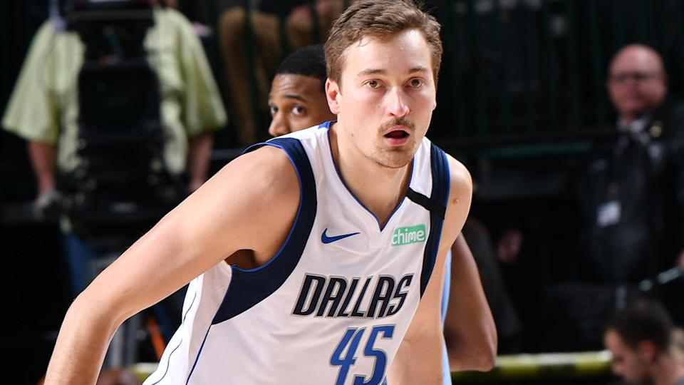 Ryan Broekhoff, pictured here  in action for the Dallas Mavericks in February, 2020.