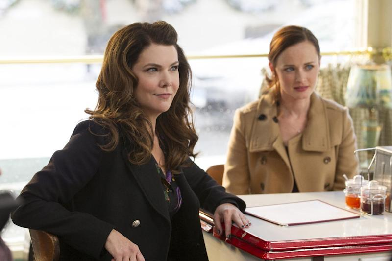 "This image released by Netflix shows Lauren Graham, left, and Alexis Bledel in a scene from, ""Gilmore Girls: A Year In The Life,"" premiering Friday on Netflix. (Saeed Adyani/Netflix via AP)"