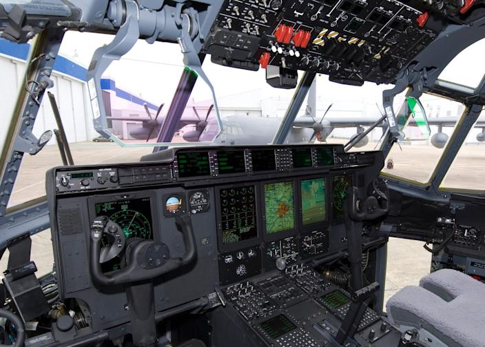 The cockpit of an MC-130J special operations aircraft