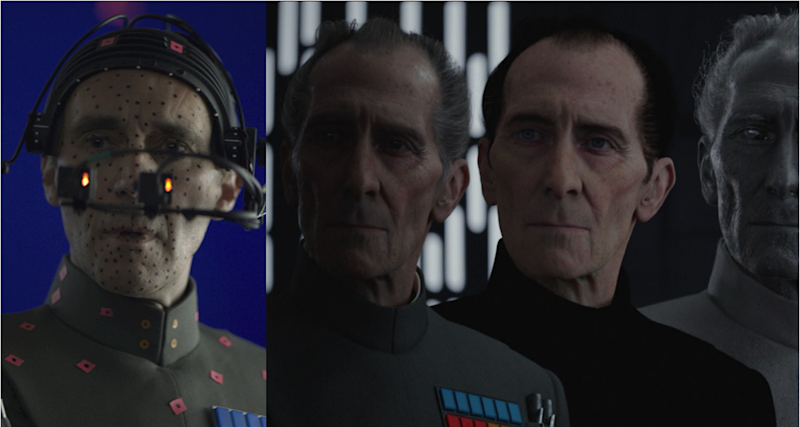 Guy Henry as Tarkin on the 'Rogue One' set and layers of the CGI recreation of Peter Cushing. (Credit: LucasFilm)