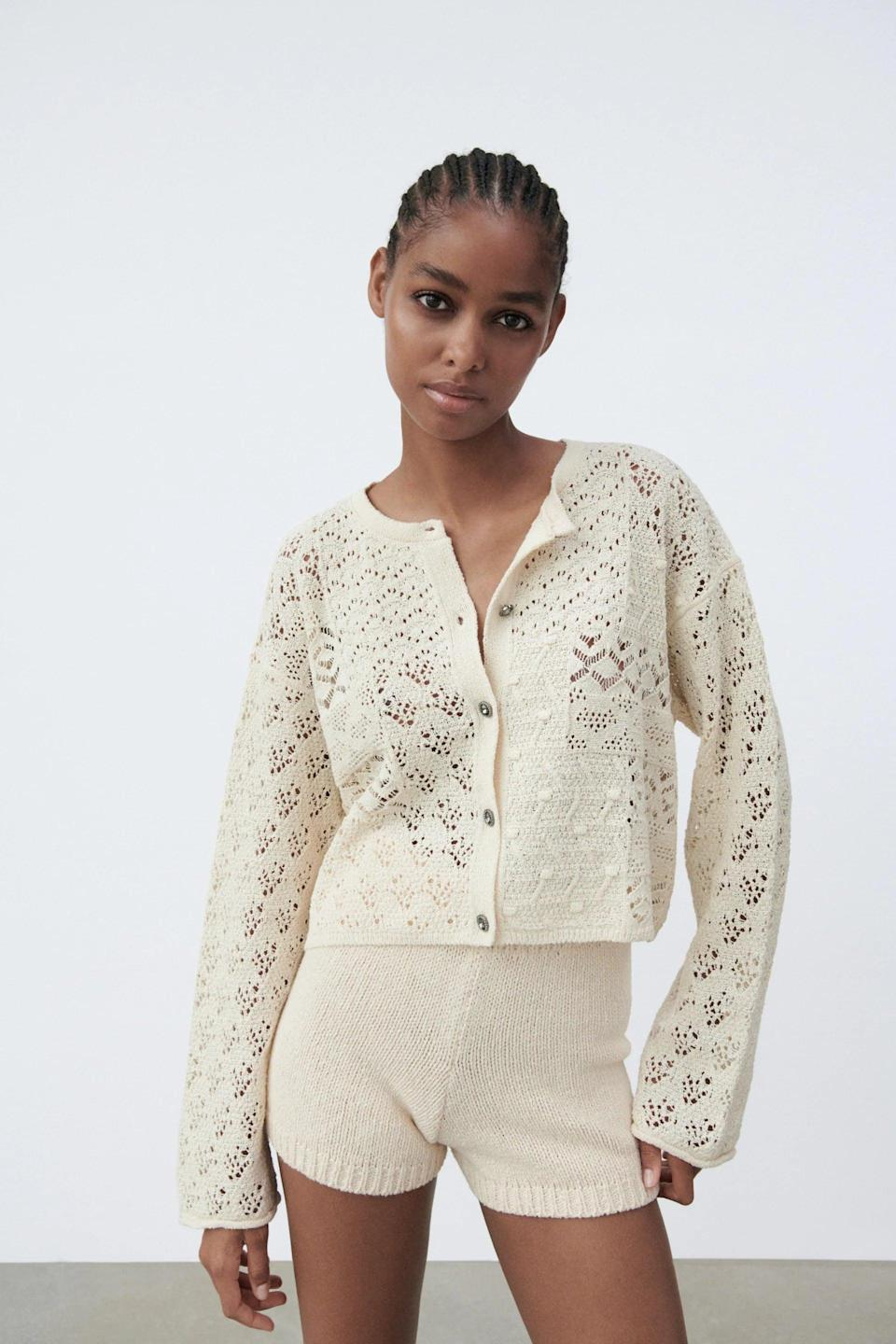 <p>This <span>Zara Jewel Button Knit Cardigan</span> ($40) is a sweater you could wear for a night out or a casual weekend with friends. The jewel buttons make it that much prettier.</p>