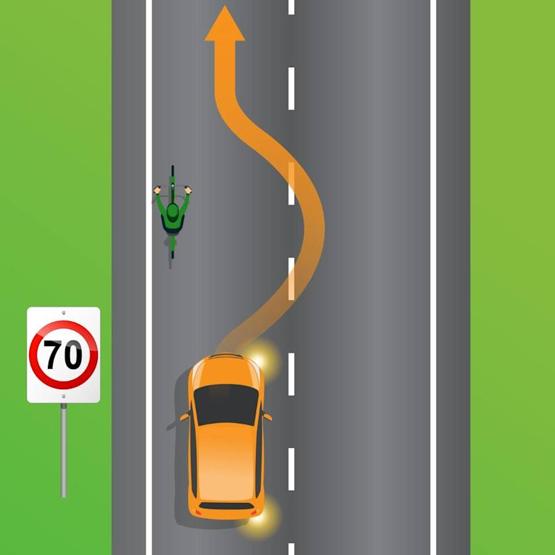 A car and a cyclist are pictured in a 70km/h zone.