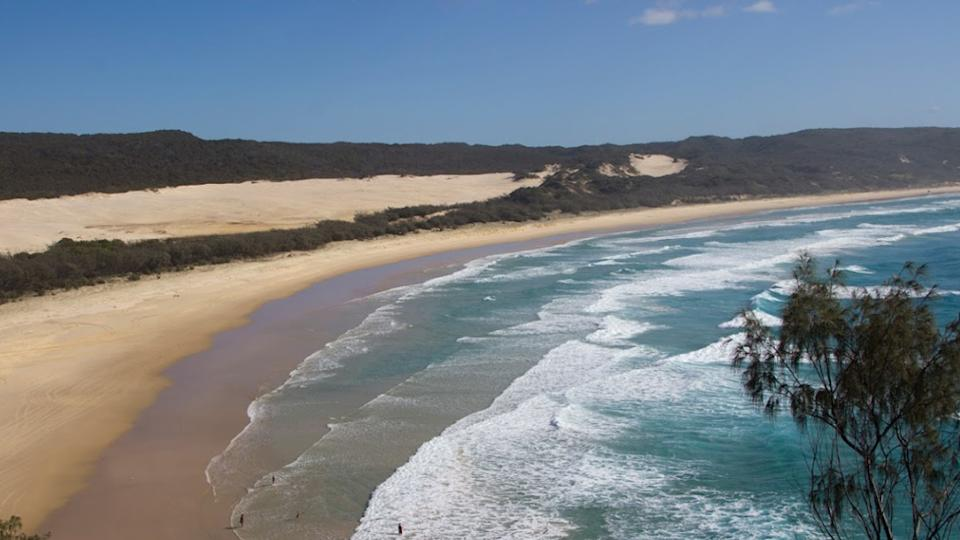 The diver was bitten by a shark off QLD's Fraser Island, he was transported to hospital but died shortly after.
