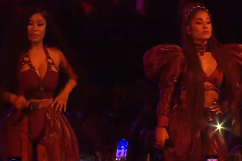 Blighted: Nicki Minaj kept fiddling with her ear piece