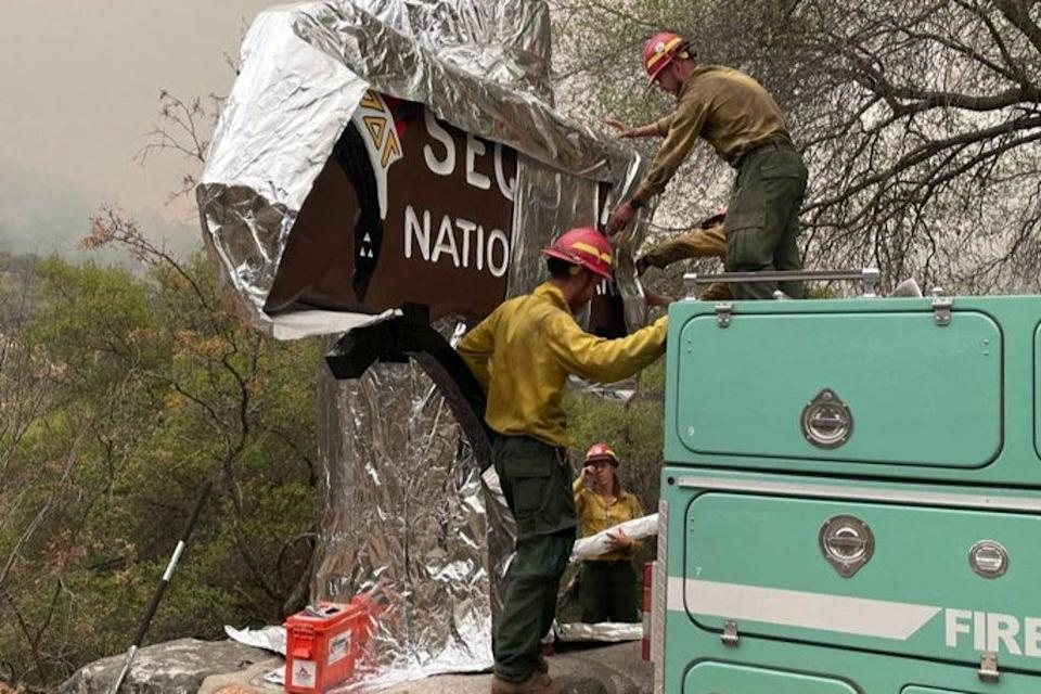 California firefighters wrap historic Sequoia National Park entrance sign with fire-proof blankets to protect them from huge blazes (NATIONAL PARK SERVICE/AFP via Ge)