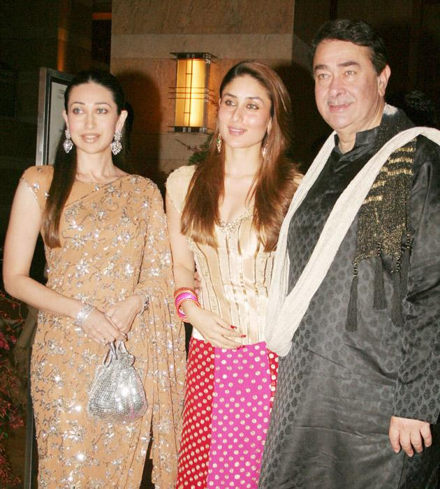 Randhir Kapoor with his daughters Kareena and Karisma